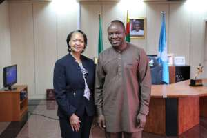 Florizelle Liser and Dr. Emmanuel Ibe Kachikwu, Minister of State for Petroleum, Federal Republic of Nigeria