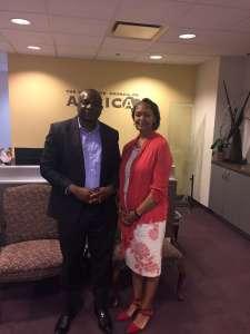 CEO Florizelle Liser with PAV's Ajong Mbapndah L at the CCA Office in Washington,DC