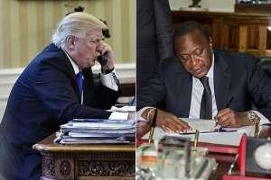 LEFT: United States President Donald Trump. RIGHT: President Uhuru Kenyatta