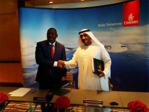 HE Augusto da Silva Tomás, Minister of Transport of Angola and HH Sheikh Ahmed bin Saeed Al Maktoum, Chairman and Chief Executive of Emirates Airline