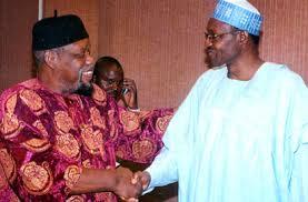 file picture late Biafran leader Ojukwu with General Buhari, now President of Nigeria