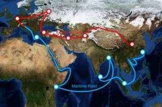 China's proposed one belt, one road route map. Credit: Shutterstock
