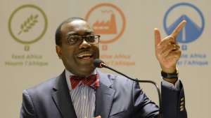 African Development Bank (ADB) president Akinwumi Adesina addresses a press conference in Ahmedabad, May 20, 2017.(AFP)