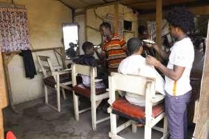 A makeshift barber shop in Kakuma camp