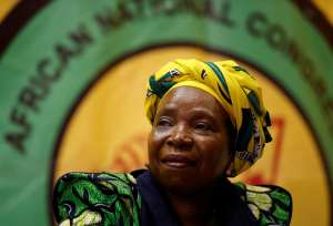 Former African Union chairperson Nkosazana Dlamini-Zuma prepares to address a lecture to members of the African National Congress Youth League in Durban, South Africa on April 20. Dlamini-Zuma is one of the main candidates to succeed her ex-husband, Jacob Zuma, as leader of the ANC. ROGAN WARD/REUTERS