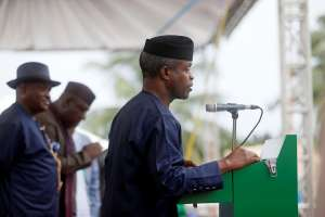 Nigeria's Vice-President Yemi Osinbajo in Ogoniland, Nigeria, during the start of an exercise to clean up pollution in the area, June 2, 2016. Osinbajo has been Nigeria's acting president for more than two months in 2017, as President Muhammadu Buhari receives treatment in the U.K. for a mystery illness. AFOLABI SOTUNDE/REUTERS