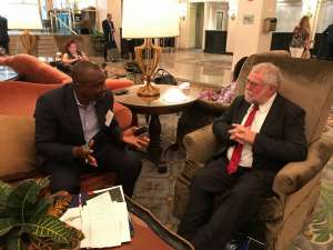 Namibia offers a stable environment with good business opportunities says Calle Schlettwein piictured here PAV's Ajong Mbapndah L on the sidelines of the recent US-Africa Business Summit In Washington,DC