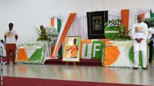 Mourners pay tribute to Cheick Tiote at his funeral in Abidjan on Sunday