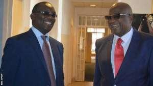 Zambia FA president Andrew Kamanga and Caf's Phillip Chiyangwa meeting in Zambia last week