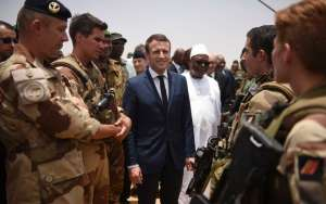 FRENCH PRESIDENT EMMANUEL MACRON DURING VISIT TO MALI, MAY 12, 2017 (REUTERS)