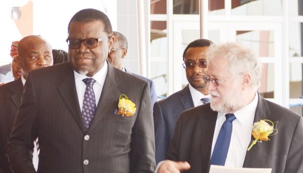 We believe that the African continent is on the march and it is our time says Minister Calle Schlettwein here in a file picture with President Hage Geingob