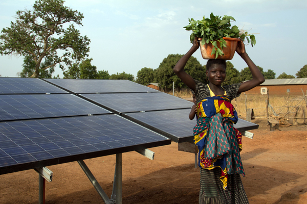 Solar panels power a solar drip irrigation system for a collective women's garden in Kalale, Benin. The system provides a cost-effective, clean way to irrigate crops, especially in the long, dry season.Pic credit Face to Face Africa
