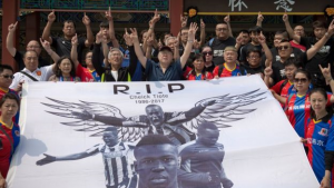 Fans at Beijing Enterprise, the football club he Tiote was playing for when he died, paid tribute to the footballer