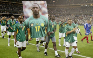 Cameroon players remembered Marc Vivien Foe after he died after collapsing during an international game in 2003