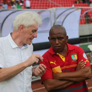 Cameroons Coach Hugo Broos with Assistant Coach Belinga