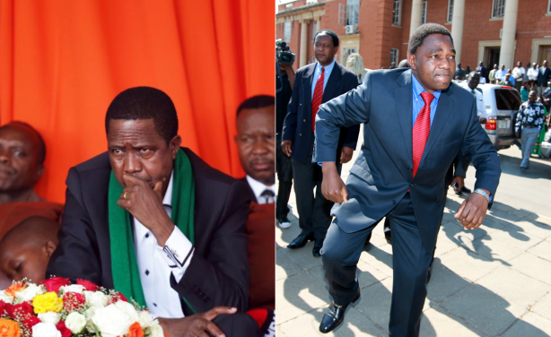 Photo: allafrica.com President Edgar Lungu and opposition leader Hakainde Hichilema (file photo).
