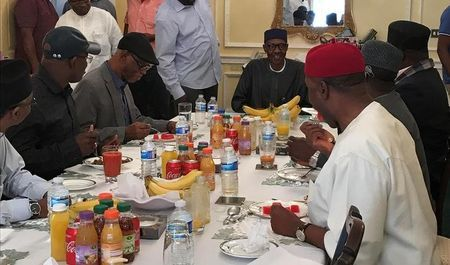 Nigeria's President Muhammadu Buhari receives a delegation of the All Progressives Congress (APC) party in Abuja House in London, Britain July 23, 2017. Nigeria Presidency/Handout via Reuters More
