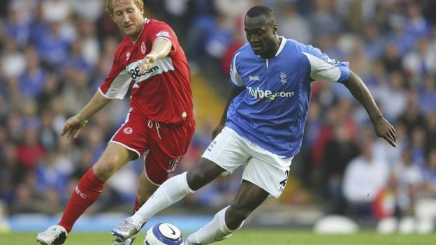 JAMIE MCDONALD Image caption Tebily played over 80 matches for Birmingham City, many of them in the top-flight
