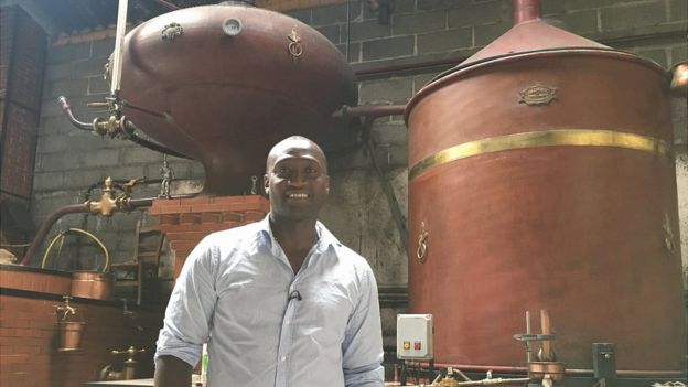 Tebily is learning how to distil - a key element in creating Cognac since traditional methods require a double-distillation in copper stills