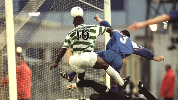 Tebily scored few goals during his career but managed two with Celtic, with whom he won a Scottish treble in 2001