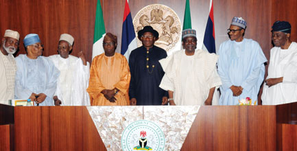 File Picture former Head of State, Gen. Abdulsalami Abubakar; former Military President Ibrahim Babangida; former President, Alhaji Shehu Shagari; former President Olusegun Obasanjo; former president Goodluck Jonathan; former Head of State, Gen. Yakubu Gowon; President Muhammadu Buhari and former head of Interim National Government, Chief Ernest Shonekan.Credit Vanguard