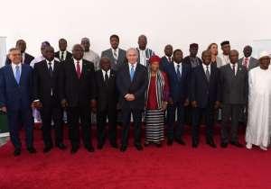 Prime Minister Benjamin Netanyahu with African leaders in Liberia pm June 4, 2017