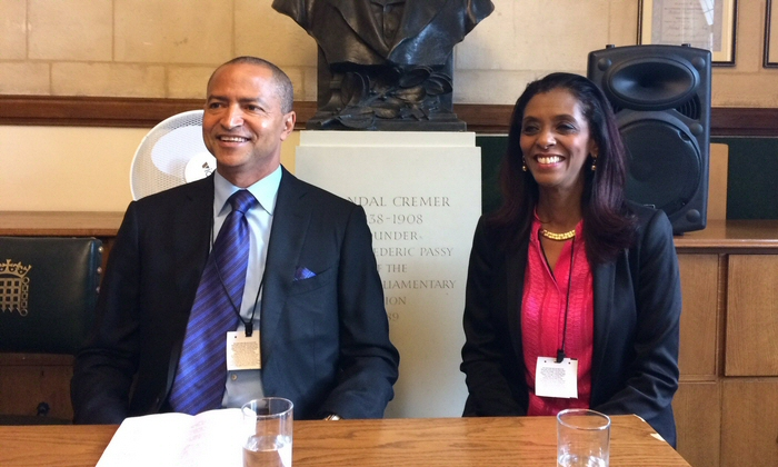 Moïse Katumbi (left) with Zeinab Badawi (right) speaking at a RAS and Africa All Party Parliamentary event in the UK. Credit: Sheila Ruiz.