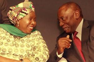 Nkosazana Dlamini-Zuma and Cyril Ramaphosa.