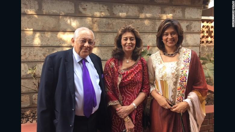 Zein Verjee, right, with her parents in Kenya.