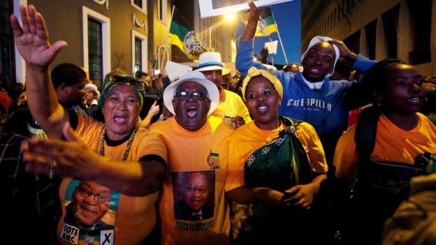 Pro-Zuma supporters celebrate in Cape Town