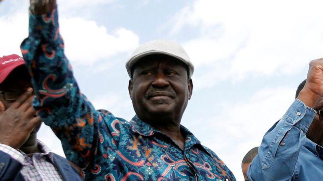 """Raila Odinga arrived at a rally on Sunday to chants of """"no peace"""""""