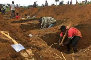 The graves were prepared at Waterloo, 30km from Freetown