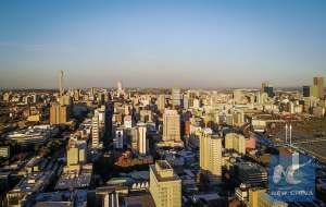 Photo taken on April 20, 2017 shows an aerial view of Johannesburg Town, SouthAfrica. The City of Johannesburg Local Municipality is situated in the northeastern part of South Africa with a population of around 4 million. Being the largest city and economic center of South Africa, it has a reputation for its man-made forest of about 10 million trees. (Xinhua/Zhai Jianlan)