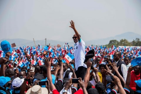 Kagame greets supporters in Ruhango, the Southern Province district of Rwanda where he grew up, at his reelection campaign kickoff July 14. (Cyril Ndegeya/AFP/Getty Images)