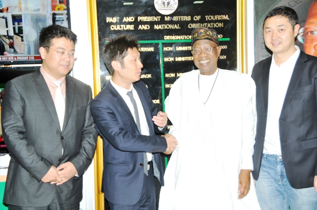 he Minister of Information and Culture, Alhaji Lai Mohammed (second right), with the Chief Executive Officer of Huaxia Movie Distribution Group of China, Mr. Wei Bian (second left); the Director, Production and Distribution of Star Times, Tony Kao (first left) and Chief Executive Officer, Star Times, Justin Zhang (first right) when the Huaxia Movie Distribution Group visited the Minister in his office in Abuja on Friday.