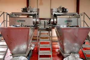A twin-blender machine is seen in the Dangote tomatoes processing factory in Kano, northwest Nigeria August 21, 2017. Picture taken August 21, 2017. REUTERS/Akintunde Akinleye.