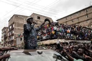 Kenya's opposition leader Raila Odinga believes he was the rightful winner of last Tuesday's presidential vote (AFP Photo/MARCO LONGARI)