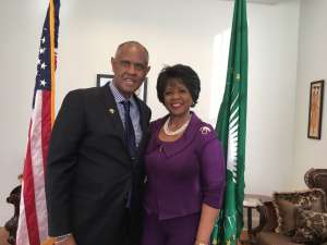 CFA President Melvin Foote  with Dr. Arikana Chihombori Quao, the  African Union Ambassador to the United States.