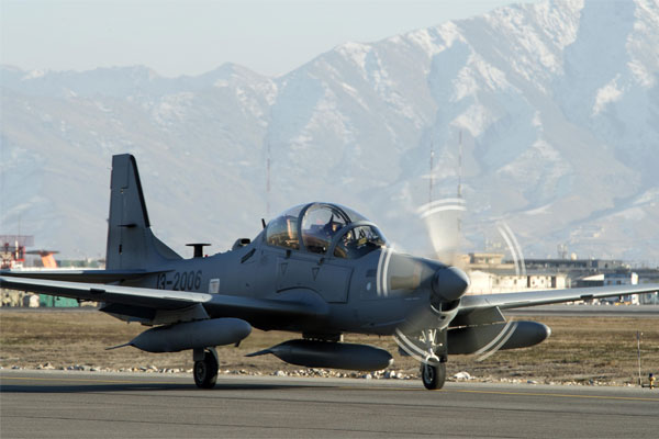An A-29 Super Tucano taxis across the airfield at Hamid Karzai International Airport in Afghanistan. The light air-support aircraft will be added to the Afghan air force in the spring of 2016. (US Air Force/Nathan Lipscomb
