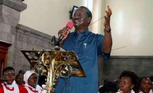 Kenyan opposition leader Raila Odinga, of the National Super Alliance (NASA) coalition, speaks during a church service inside the St. Stephen's cathedral in Nairobi, Kenya September 3, 2017. REUTERS/Thomas Mukoya
