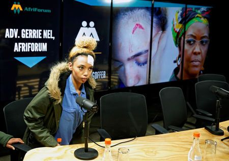 Gabriella Engels, who claims to have been assaulted by Grace Mugabe, arrives for a news conference in Pretoria, South Africa, August 17, 2017. REUTERS/Siphiwe Sibeko