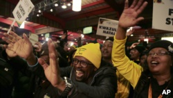 Party delegates sing during their policy conference in Johannesburg, South Africa, Friday, June 30, 2017. South Africa's divided ruling party is holding a major policy conference amid disputes over President Jacob Zuma, whose scandal-ridden tenure has prompted calls for his resignation from some of his former supporters. (AP Photo/Themba Hadebe)