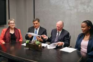 During the signing between Symbion Energy and Highland Group Holdings Ltd. (HGHL) of an agreement that sees HGHL co-invest $100 million towards the implementation of a $370 million, 106 megawatts of methane gas generated power on Rwanda's Lake Kivu. L- R: USAID's Acting Assistant Administrator for Africa Cheryl L. Anderson; Paul Hinks, CEO Symbion; Lord Irvine Laidlaw, Chairman at HGHL and Chief Executive Officer, Hon. Clare Akamanzi, Rwanda Development Board and a Member of President Kagame's cabinet.