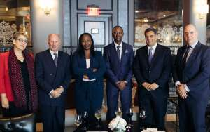 Following the signing between Symbion Energy and Highland Group Holdings Ltd. (HGHL) of an agreement that sees HGHL co-invest $100 million towards the implementation of a $370 million, 106 megawatts of methane gas generated power on Rwanda's Lake Kivu. L- R: USAID's Acting Assistant Administrator for Africa Cheryl L. Anderson; Lord Irvine Laidlaw, Chairman at HGHL; Chief Executive Officer, Hon. Clare Akamanzi, Rwanda Development Board and a Member of President Kagame's cabinet; Alexis Kabuto, CEO, Symbion Lake Kivu; Paul Hinks, CEO, Symbion; Albert Jochems, Laidlaw Capital Management.