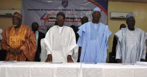 Prof. Jibril Aminu; The Minister of Information and Culture, Alhaji Lai Mohammed; The Commissioner for Information, Kano State, Mallam Mohammed Garba and the Vice Chancellor, Bayero University Kano, Prof. Muhammad Yahuza Bello, at the Association of Communication Scholars and Professionals of Nigeria's 4th Annual Conference in Kano on Wednesday