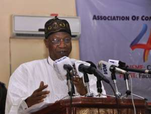 The Minister of Information and Culture, Alhaji Lai Mohammed, addressing the Association of Communication Scholars and Professionals of Nigeria's 4th Annual Conference in Kano on Wednesday.