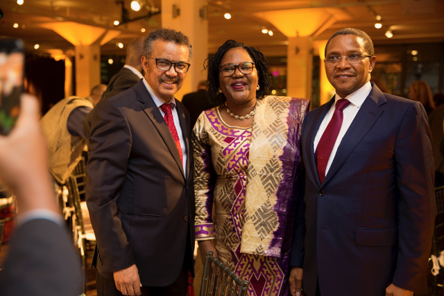 His Excellency, President Kikwete, 4th President of Tanzania featured with Dr. Tedros Adhanom Ghebreysus Director General, World Health Organisation and Dr. Mwele Malecela, Dr. Mwele Malecela is a Director in the Office of the Africa Regional Director, World Health Organization