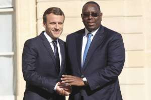 Presidents Macky Sall of Senegal and Emmanuel Macron of France