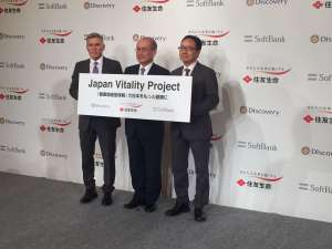 Announcement of Discover's partnership with Sumitomo which is anticipated to launch Vitality in Japan in 2018. (Discovery Chief Executive Adrian Gore on the left)
