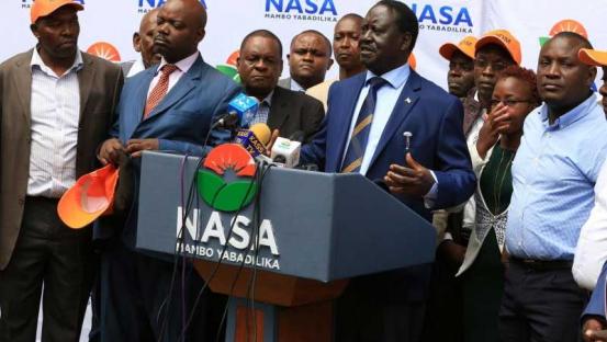 NASA Presidential aspirant Raila Odinga addressing the Press